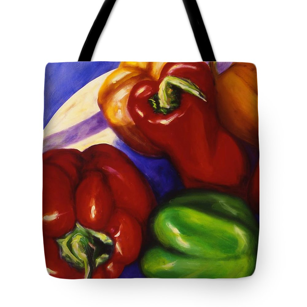 Still Life Peppers Tote Bag featuring the painting Peppers In The Round by Shannon Grissom