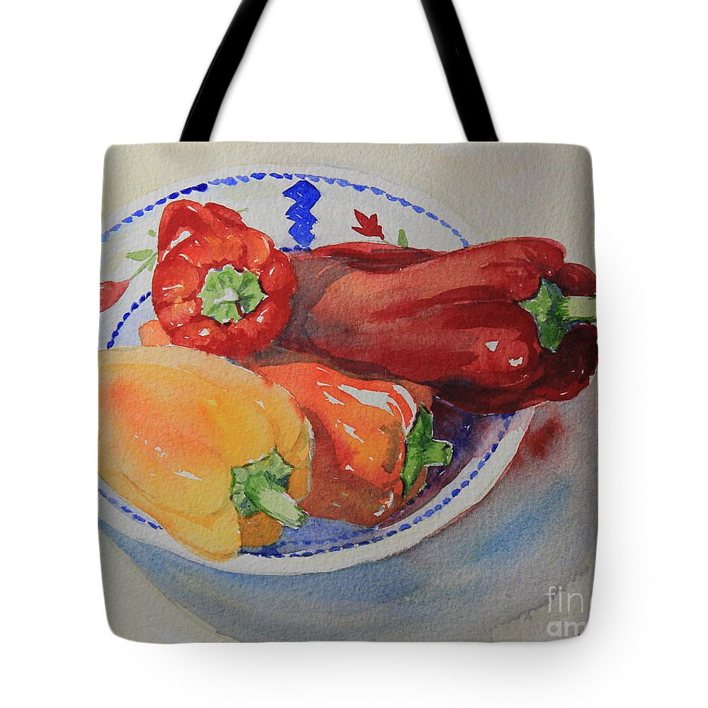 Watercolor Tote Bag featuring the painting Peppers by Marsha Reeves
