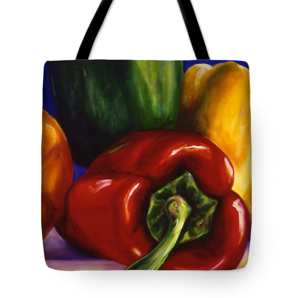Still Life Tote Bag featuring the painting Peppers On Peppers by Shannon Grissom