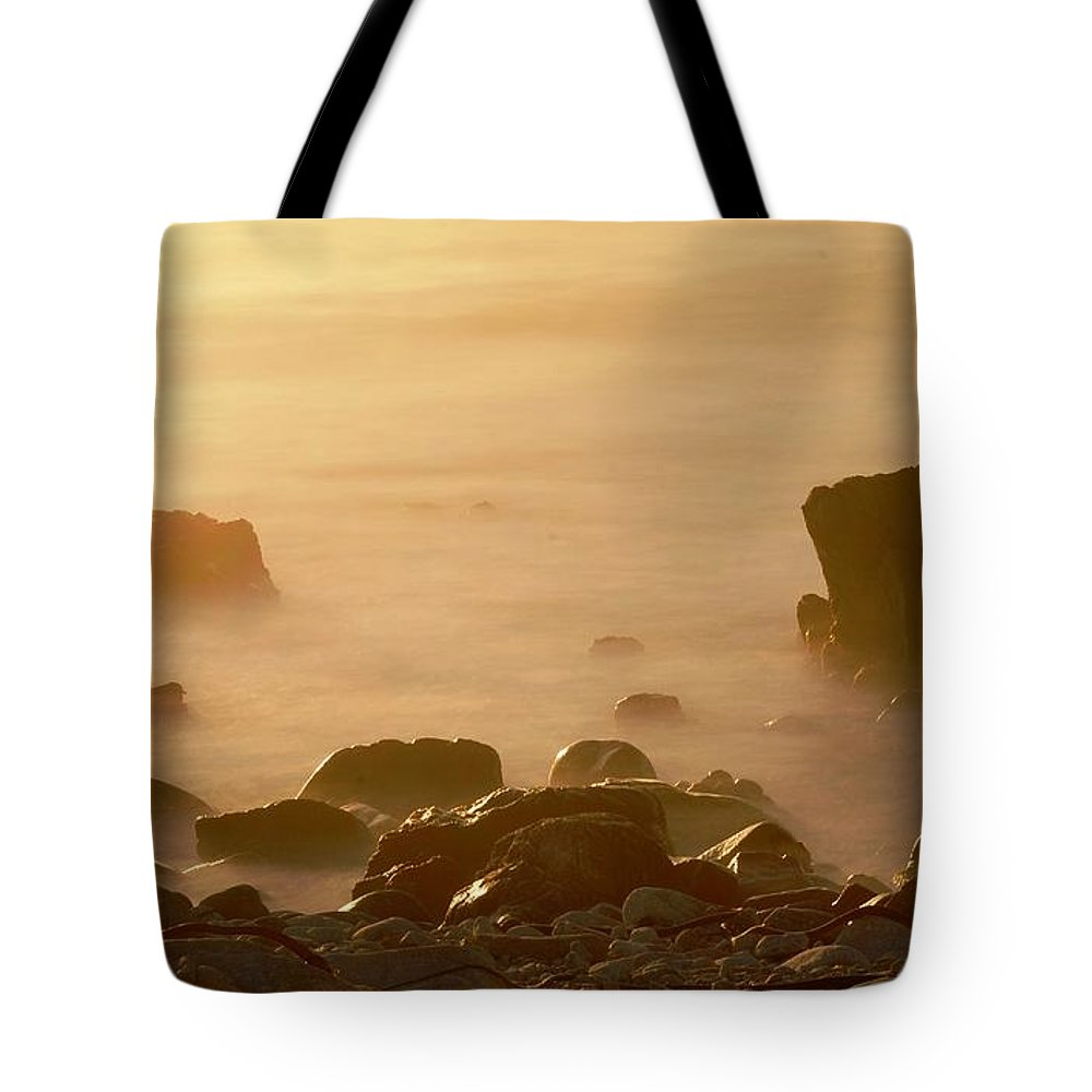 Rock Tote Bag featuring the photograph Pepple Beach by Catherine Lau