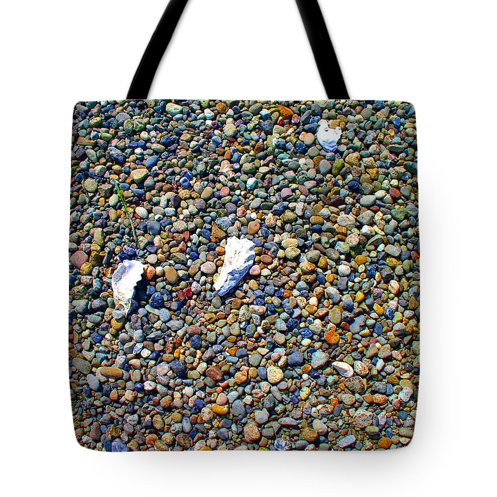 Beach Tote Bag featuring the photograph Pepples On The Beach by Valerie Josi
