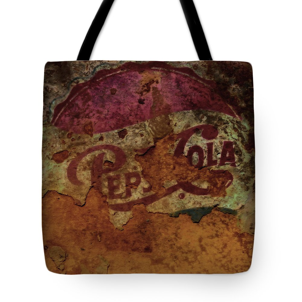 Pepsicola Tote Bag featuring the mixed media Pepsi Cola Vintage Sign 5a by Brian Reaves