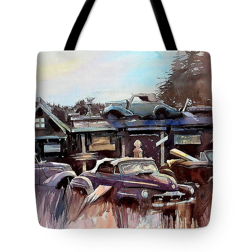 Cars Rrust Buildings Tote Bag featuring the painting Perched by Ron Morrison