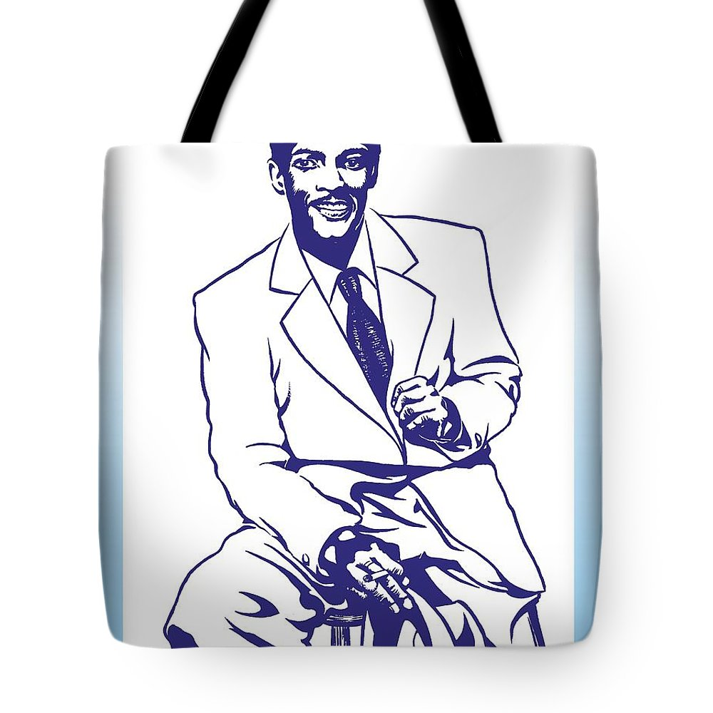 Percy Tote Bag featuring the drawing Percy Mayfield by Markus Neal Humby