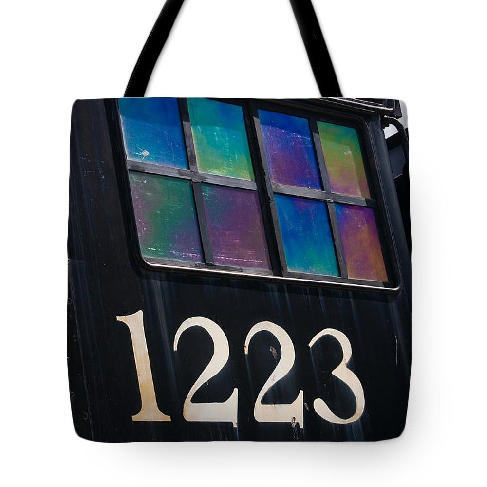 3scape Tote Bag featuring the photograph Pere Marquette Locomotive 1223 by Adam Romanowicz