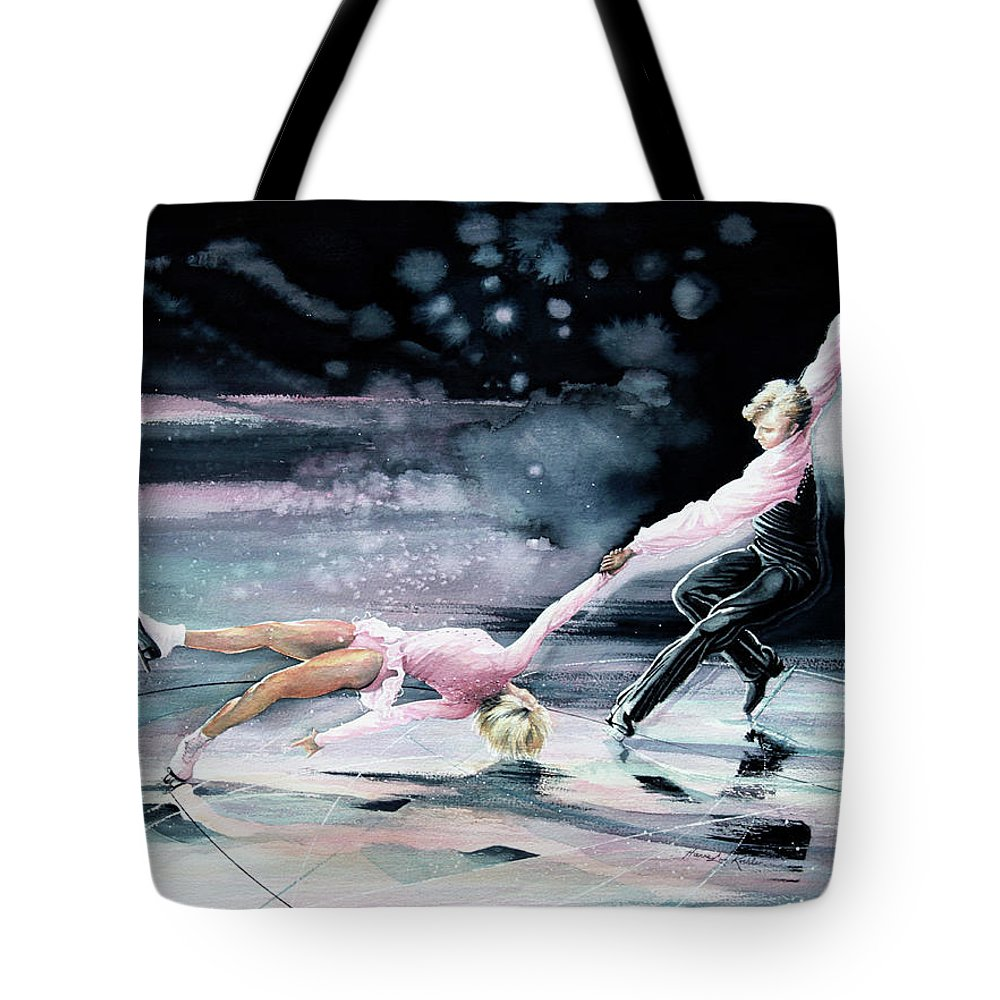 Olympic Figure Skating Paintings Tote Bags