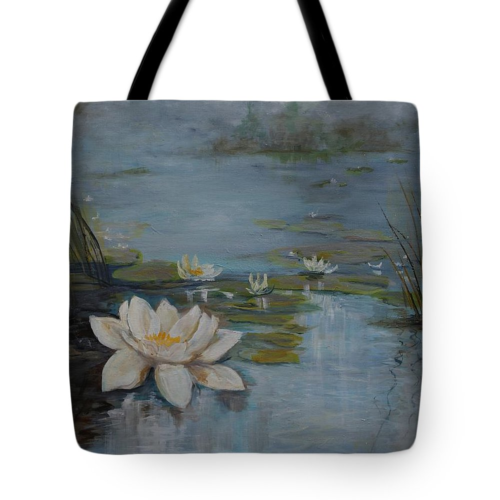 Water Lily Tote Bag featuring the painting Perfect Lotus - Lmj by Ruth Kamenev