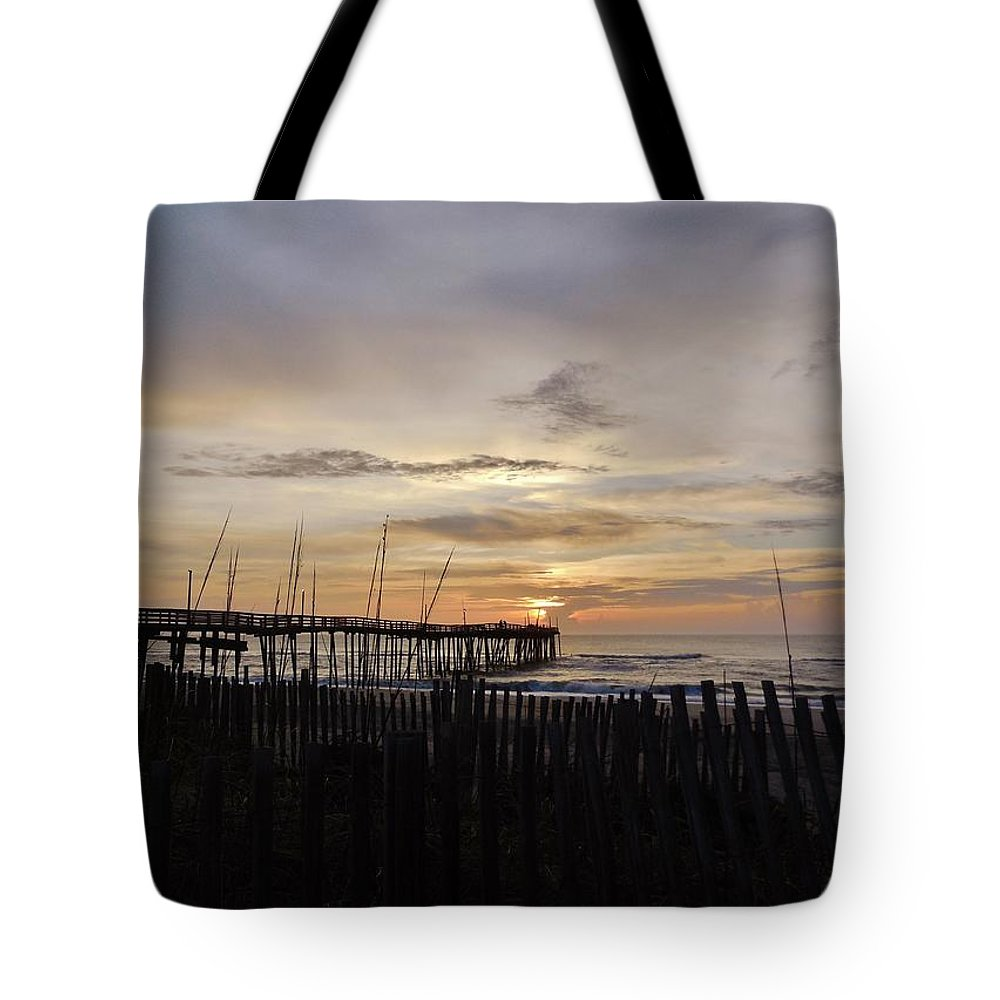 Mark Lemmon Cape Hatteras Nc The Outer Banks Photographer Subjects From Sunrise Tote Bag featuring the photograph Perfect Pier View 4 4/10 by Mark Lemmon
