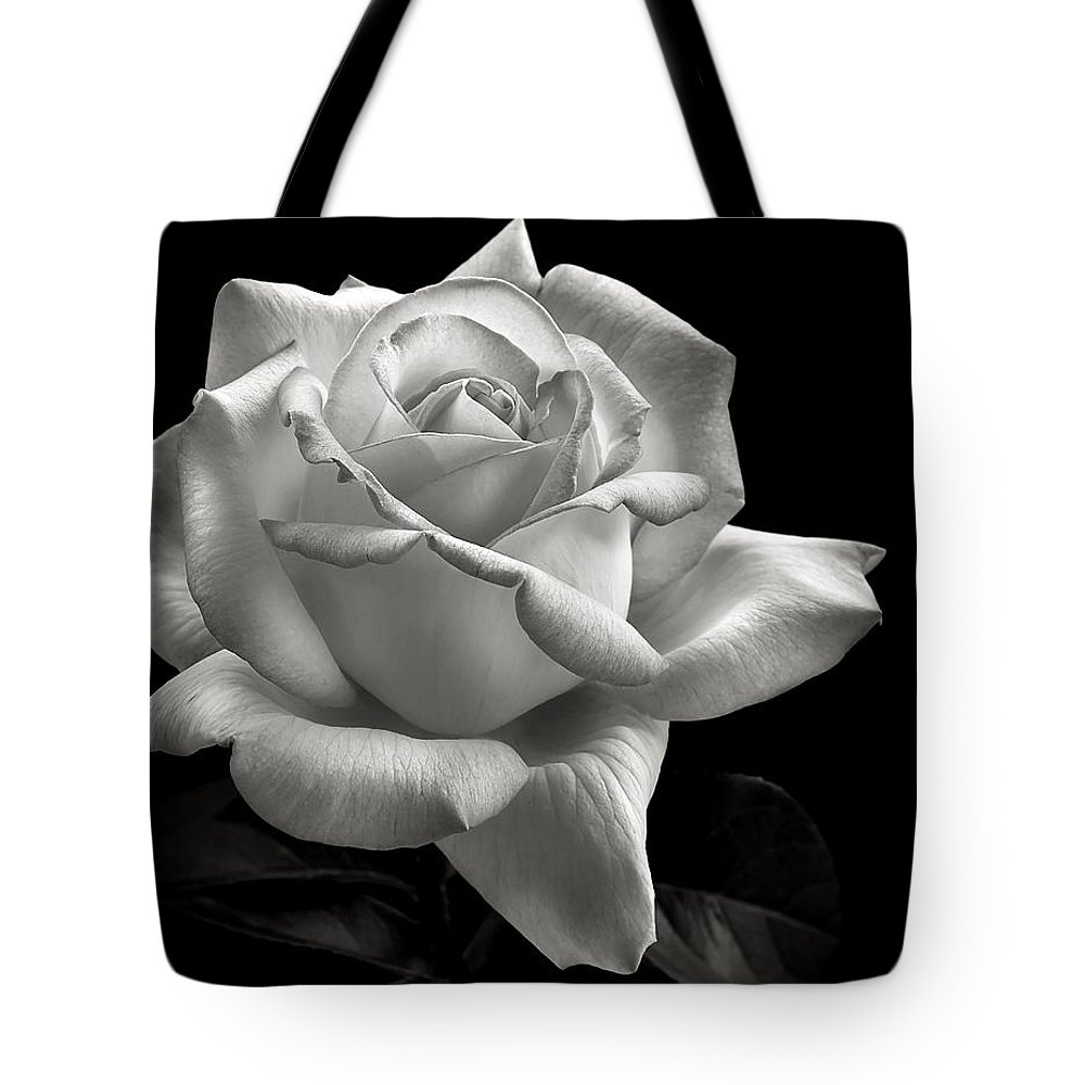Perfect Rose Tote Bag featuring the photograph Perfect Rose In Black And White by Endre Balogh