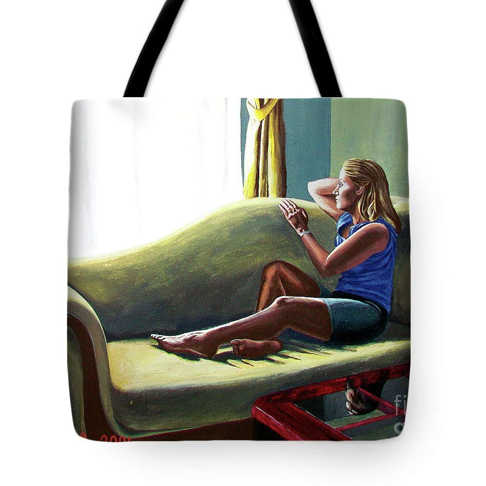 Figure Tote Bag featuring the painting Perfect Waiting - Esperar Perfecto by Rezzan Erguvan-Onal