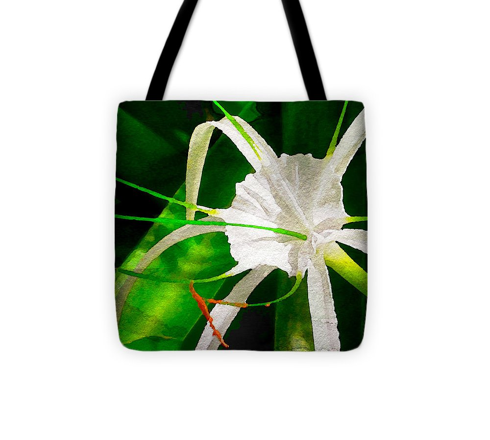 Perfumed Spider Lilly Watercolor Tote Bag featuring the digital art Perfumed Spider Lilly Digital Watercolor by James Temple