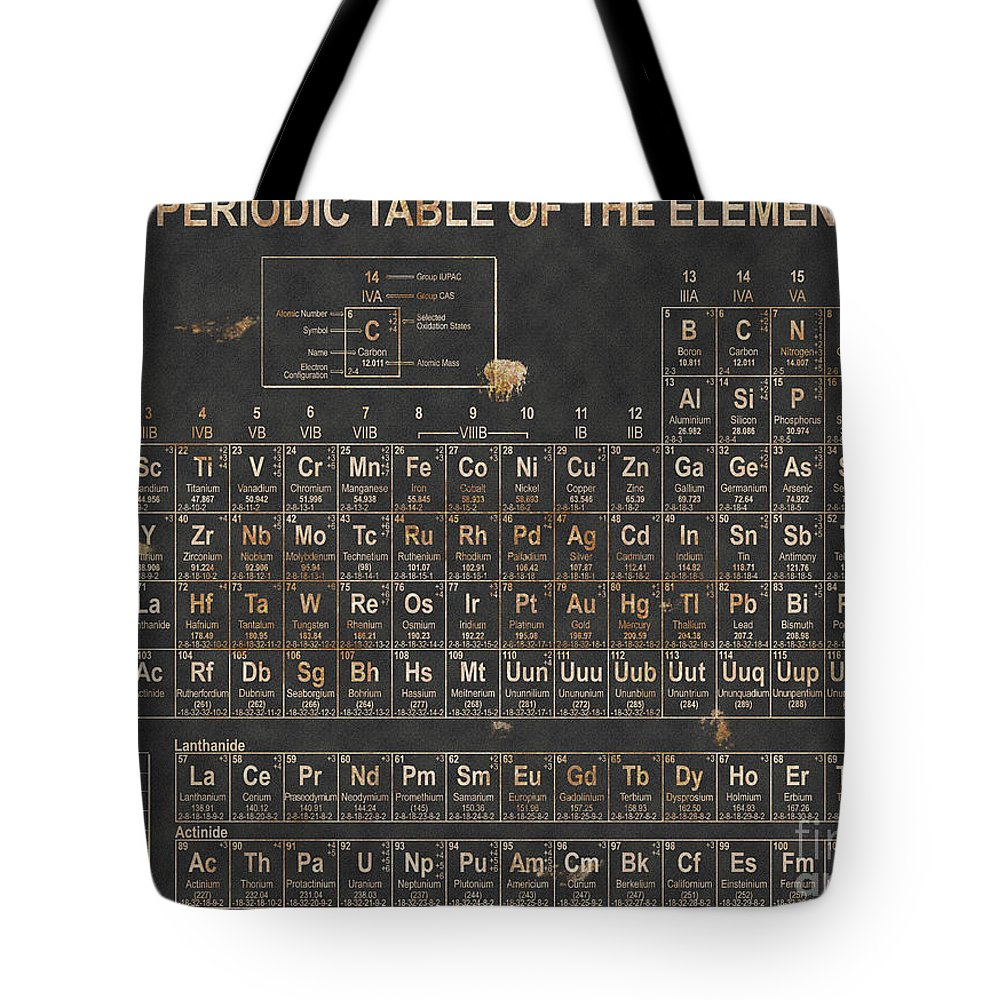 Science Tote Bag featuring the digital art Periodic Table Grunge Style by Christopher Williams