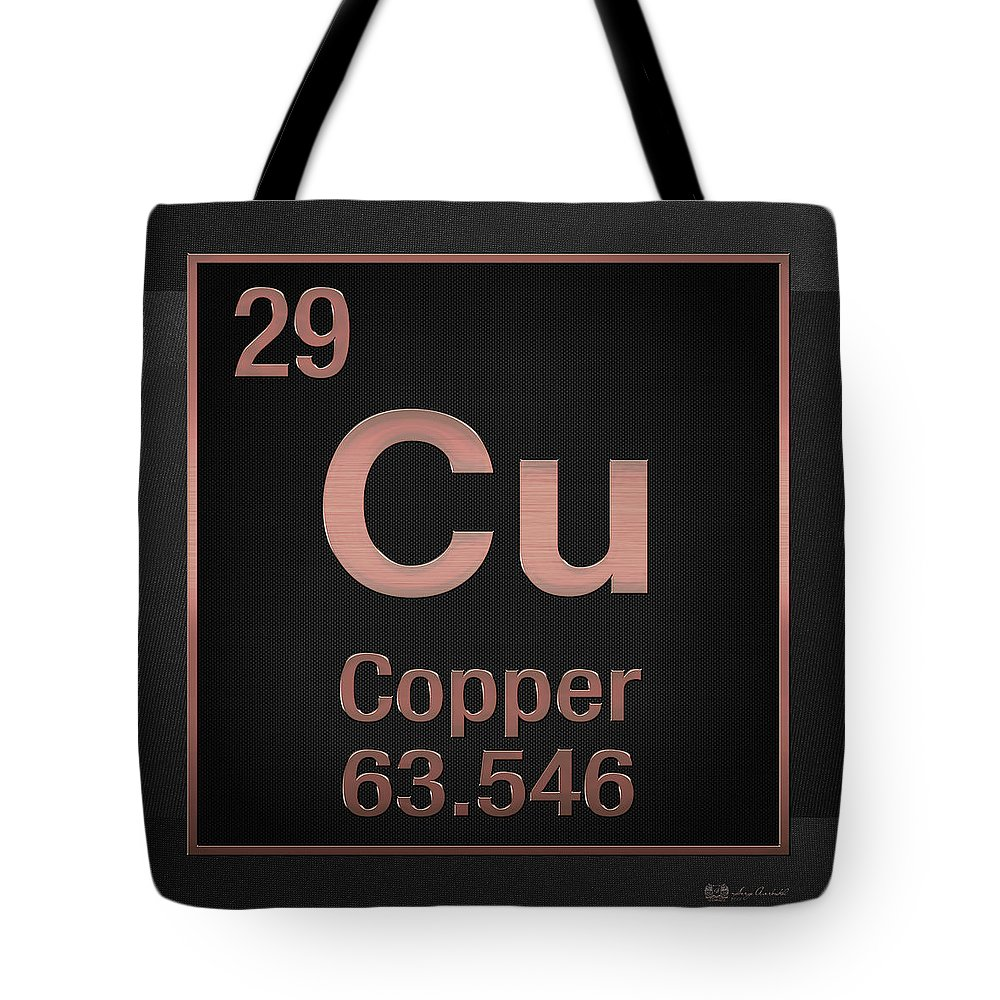 Periodic Table Of Elements Copper Cu Copper On Black Tote Bag