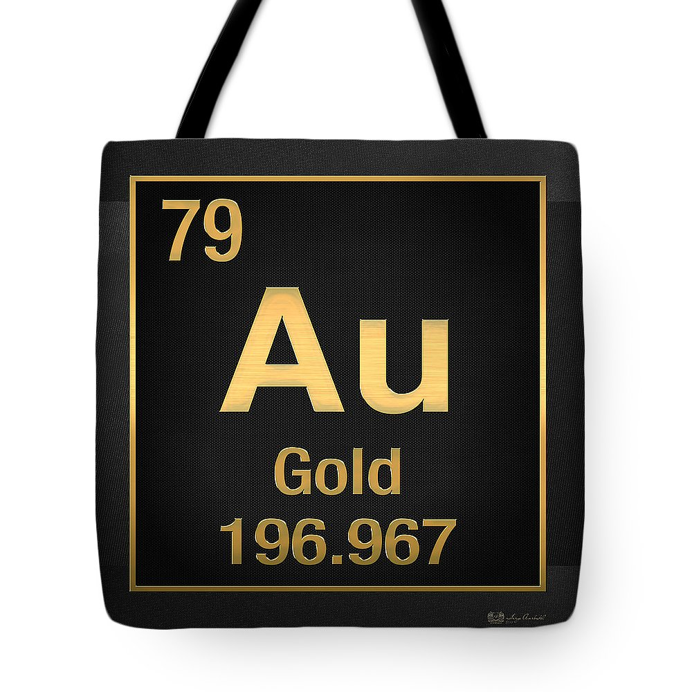 Periodic table of elements gold au gold on black tote bag for the elements collection by serge averbukh tote bag featuring the digital art periodic table urtaz Images