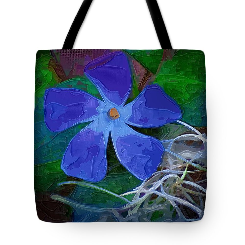 Flower Tote Bag featuring the digital art Periwinkle Blue by Donna Bentley