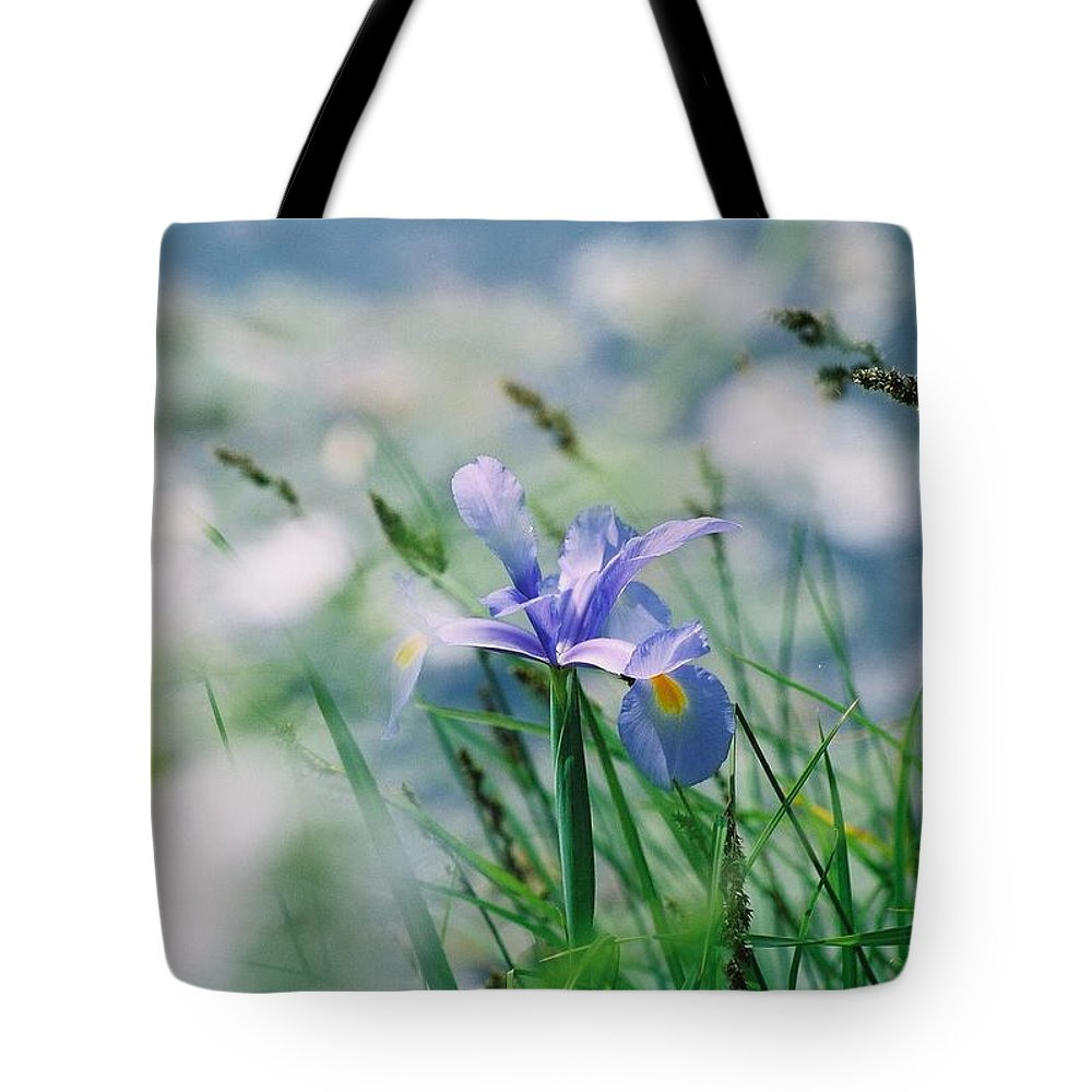 Periwinkle Tote Bag featuring the photograph Periwinkle Iris by Nadine Rippelmeyer