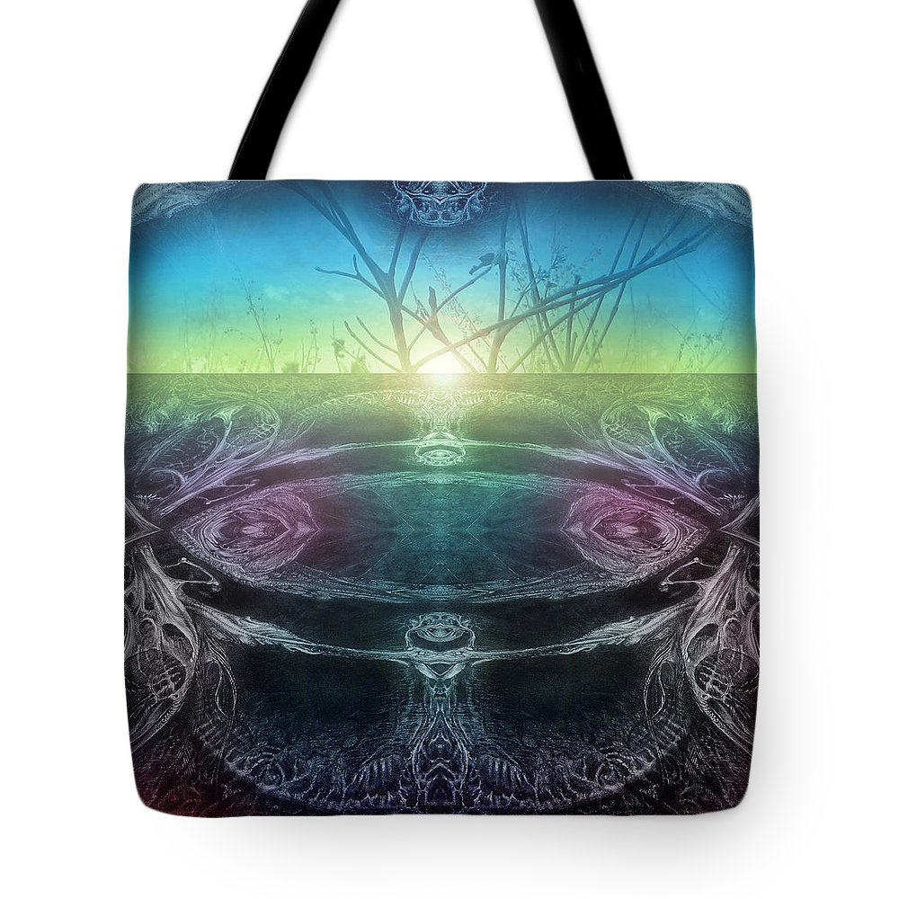 Digital Tote Bag featuring the digital art Perpetual Motion Landscape by Otto Rapp