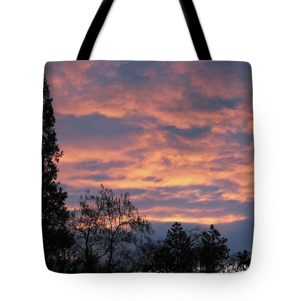 Blue Tote Bag featuring the photograph Perrydale Sunrise by Teri Schuster
