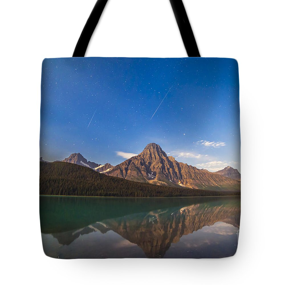 Banff National Park Tote Bag featuring the photograph Perseid Meteors Over Mt. Chephren by Alan Dyer