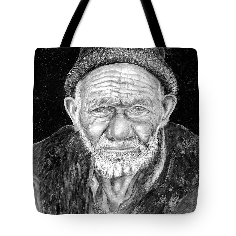 Figurative Painting Tote Bag featuring the painting Perserverance by Enzie Shahmiri