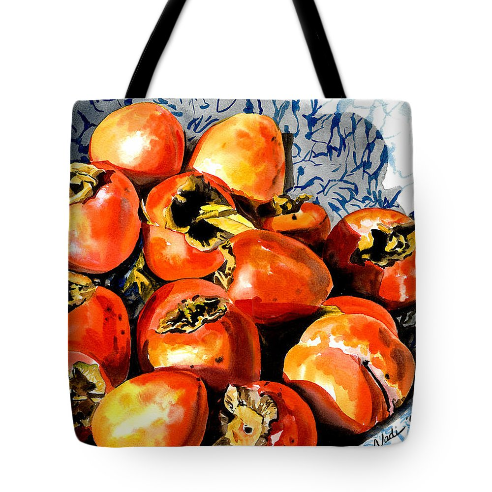Food Tote Bag featuring the painting Persimmons by Nadi Spencer