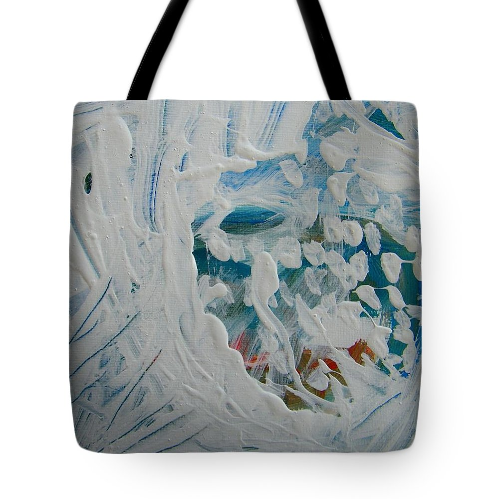 Abstract Tote Bag featuring the painting Person In There Somewhere by Judith Redman