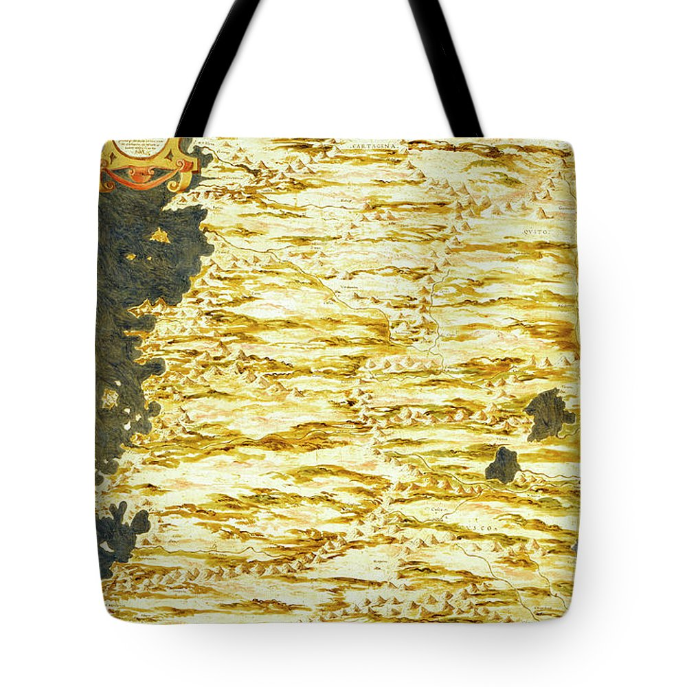 Map Tote Bag featuring the painting Peru And Ecuador by Italian painter of the 16th century