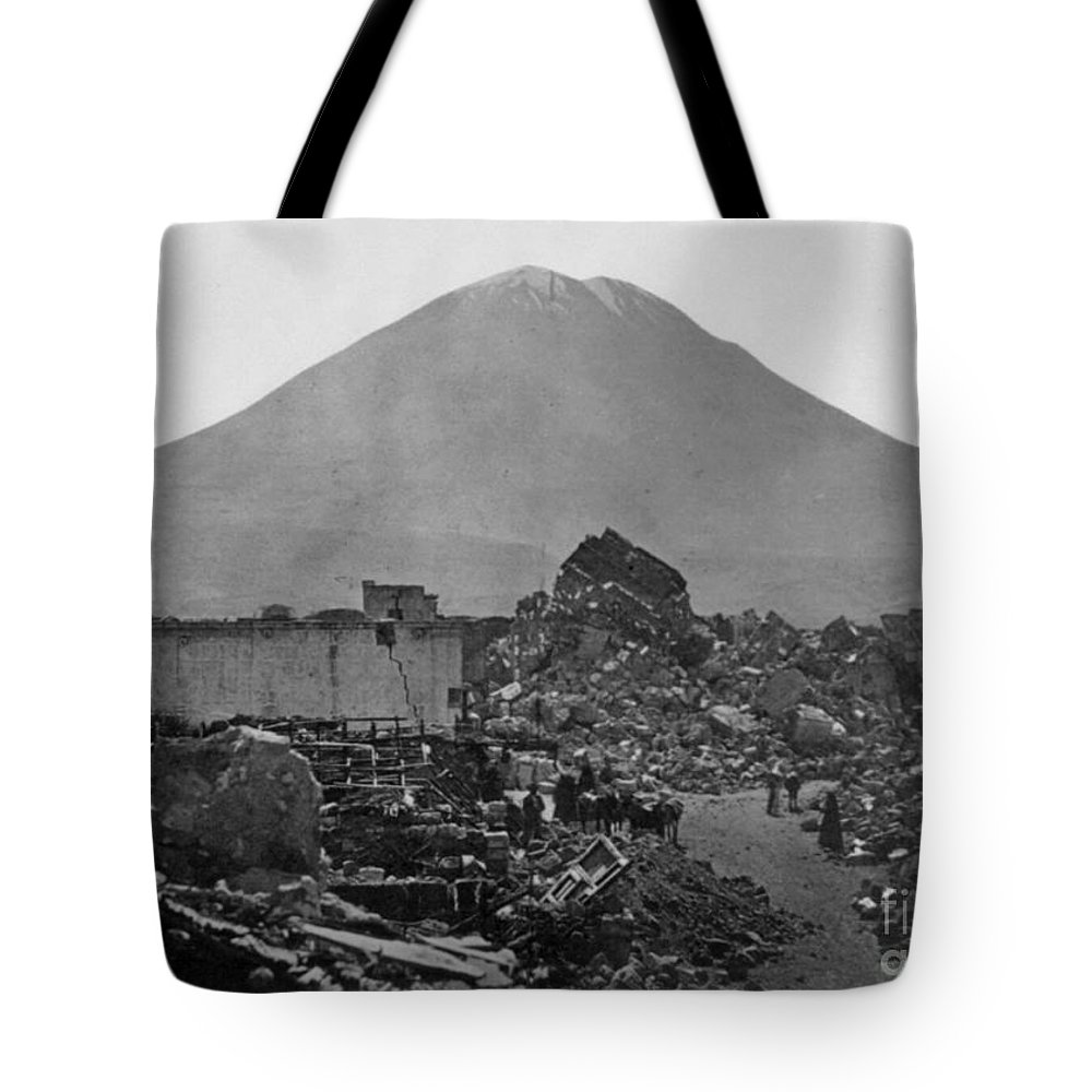1868 Tote Bag featuring the photograph Peru: Earthquake by Granger