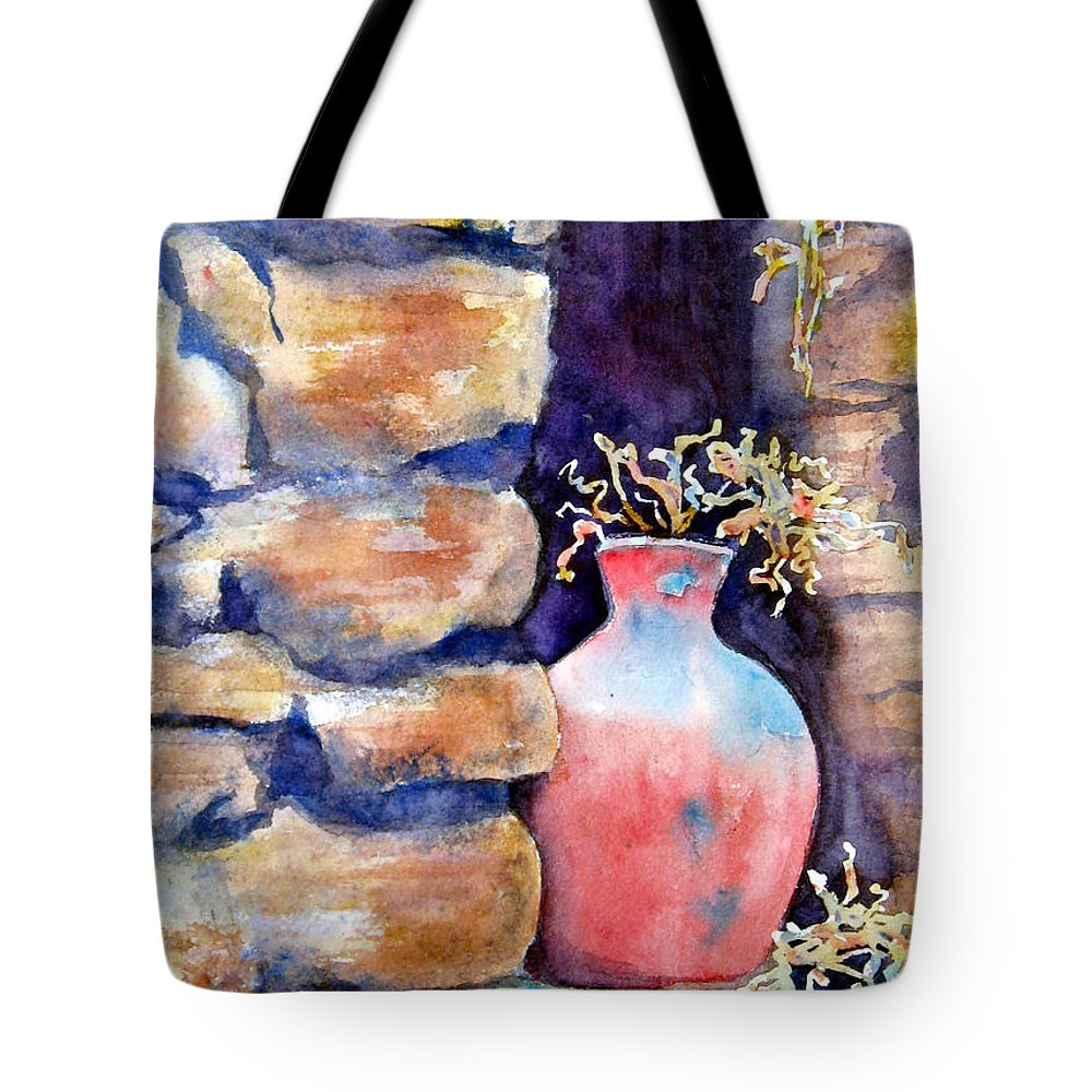 Pot Tote Bag featuring the painting Peruvian Pot by Marsha Elliott