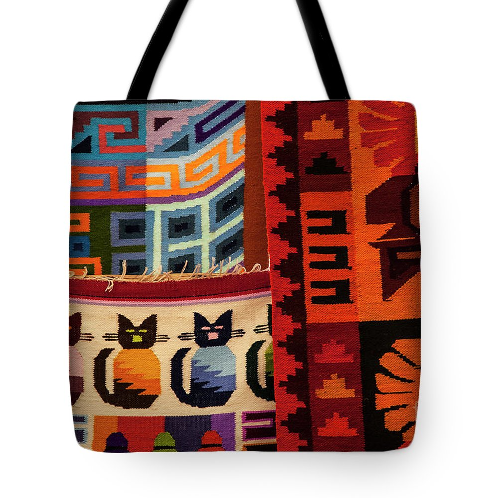 Pisac Market Tote Bag featuring the photograph Peruvian Tapestries by Bob Phillips