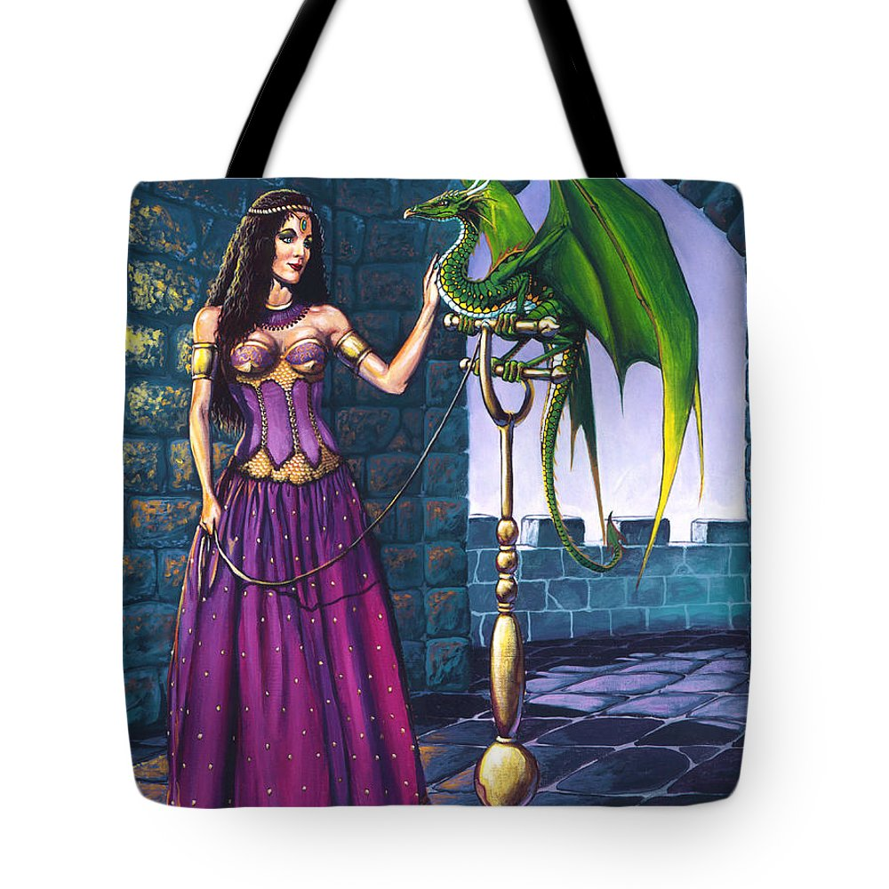 Dragon Tote Bag featuring the painting Pet Dragon by Stanley Morrison