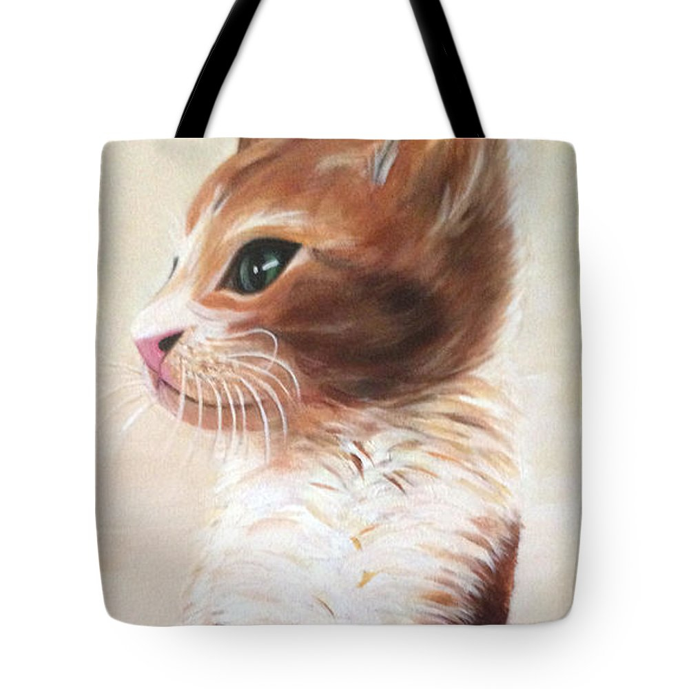 Kitty Tote Bag featuring the painting Pet Portrait by Suzette Castro