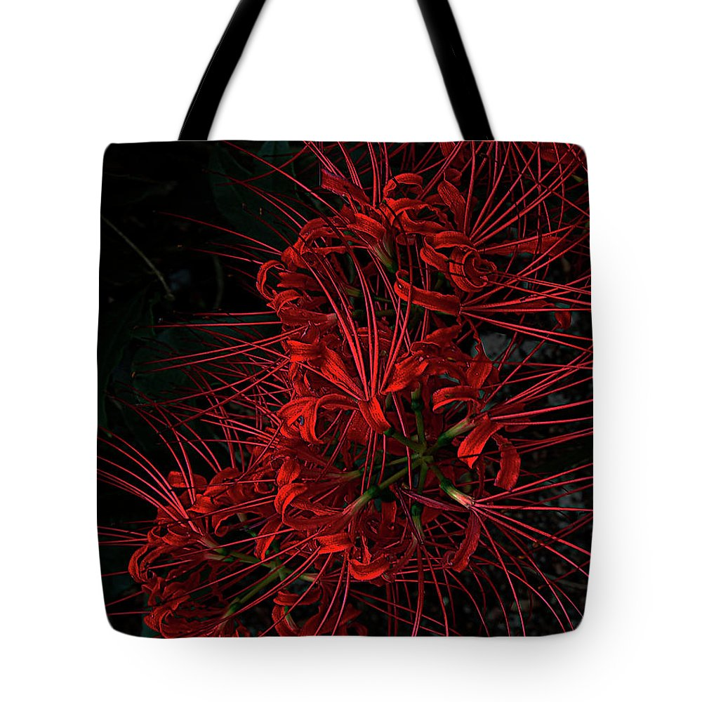 Flower Tote Bag featuring the digital art Petals Of Fireworks by DigiArt Diaries by Vicky B Fuller