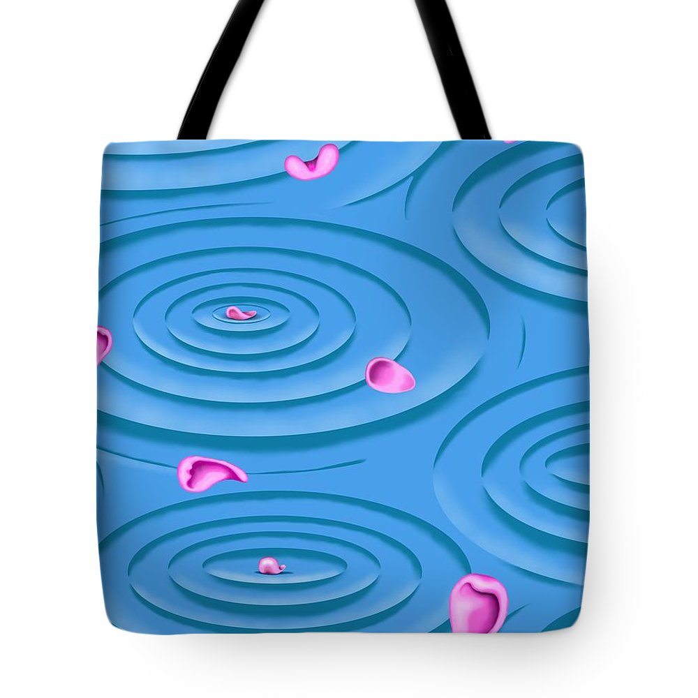 Surrealism Tote Bag featuring the digital art Petals on Water I by Robert Morin