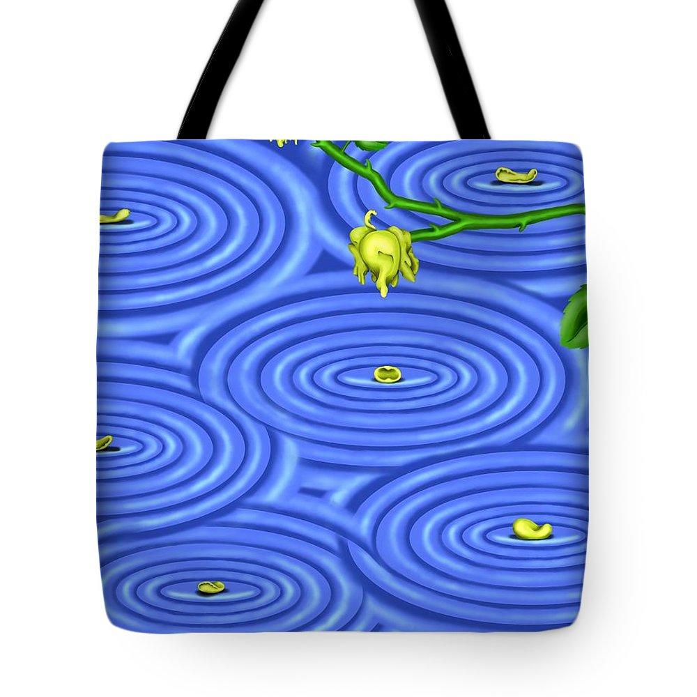 Surrealism Tote Bag featuring the digital art Petals On Water IIi by Robert Morin