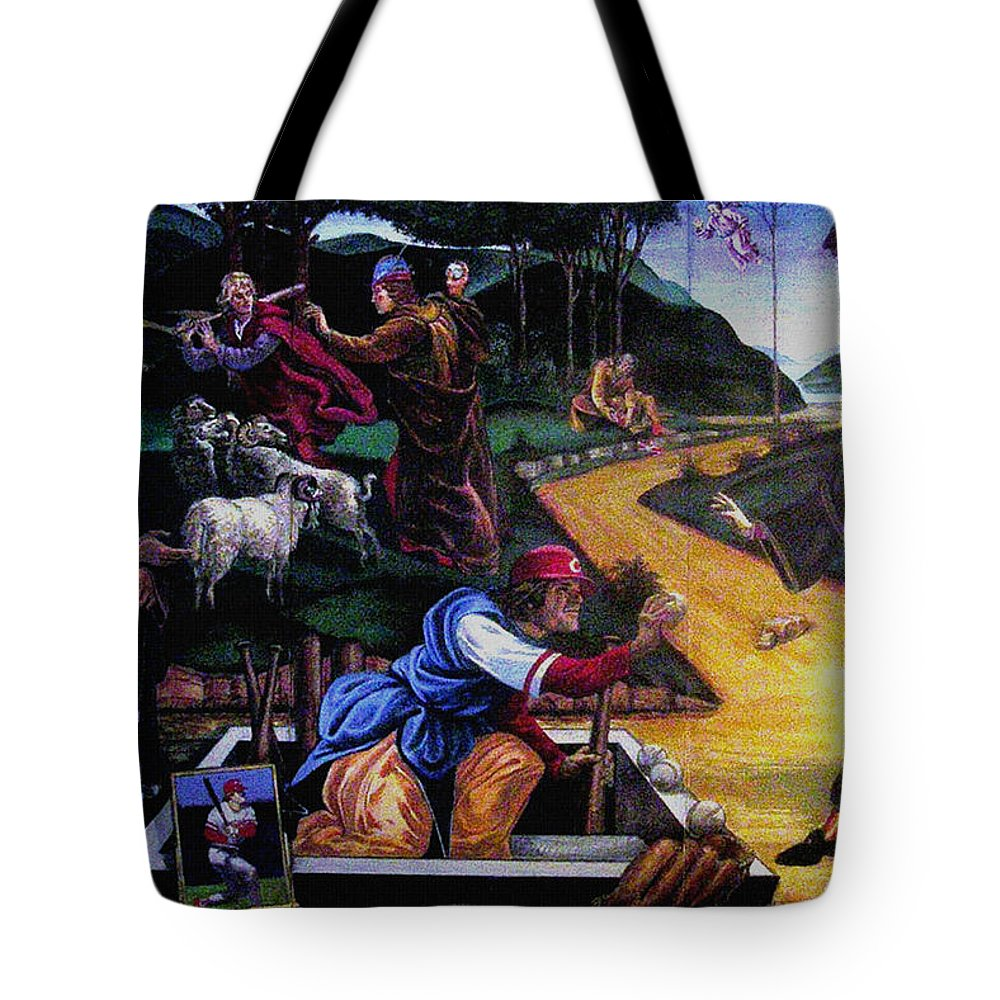 Pete Rose Tote Bag featuring the painting Pete Rose In The Renaissance by Stan Esson
