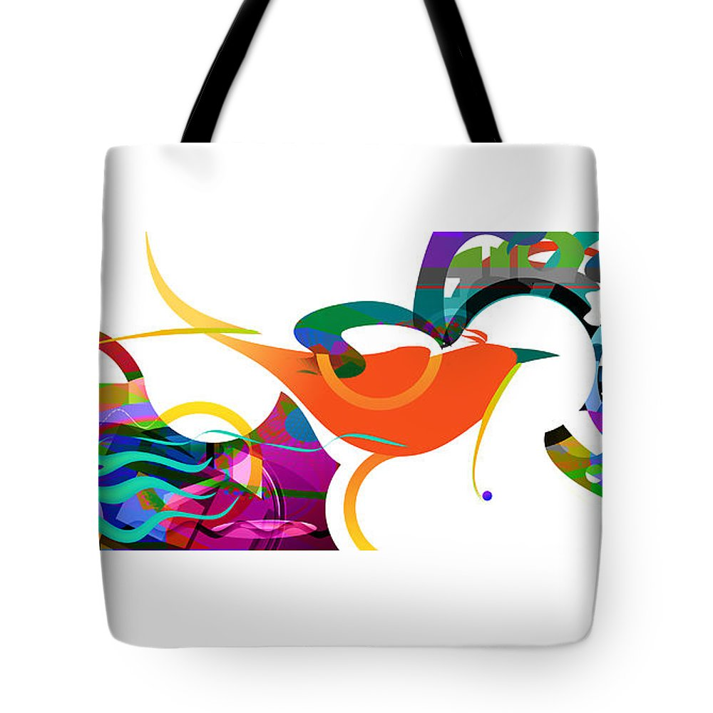 Little Bird Tote Bag featuring the digital art Petit Oiseau De Paradis by Sandy Fox