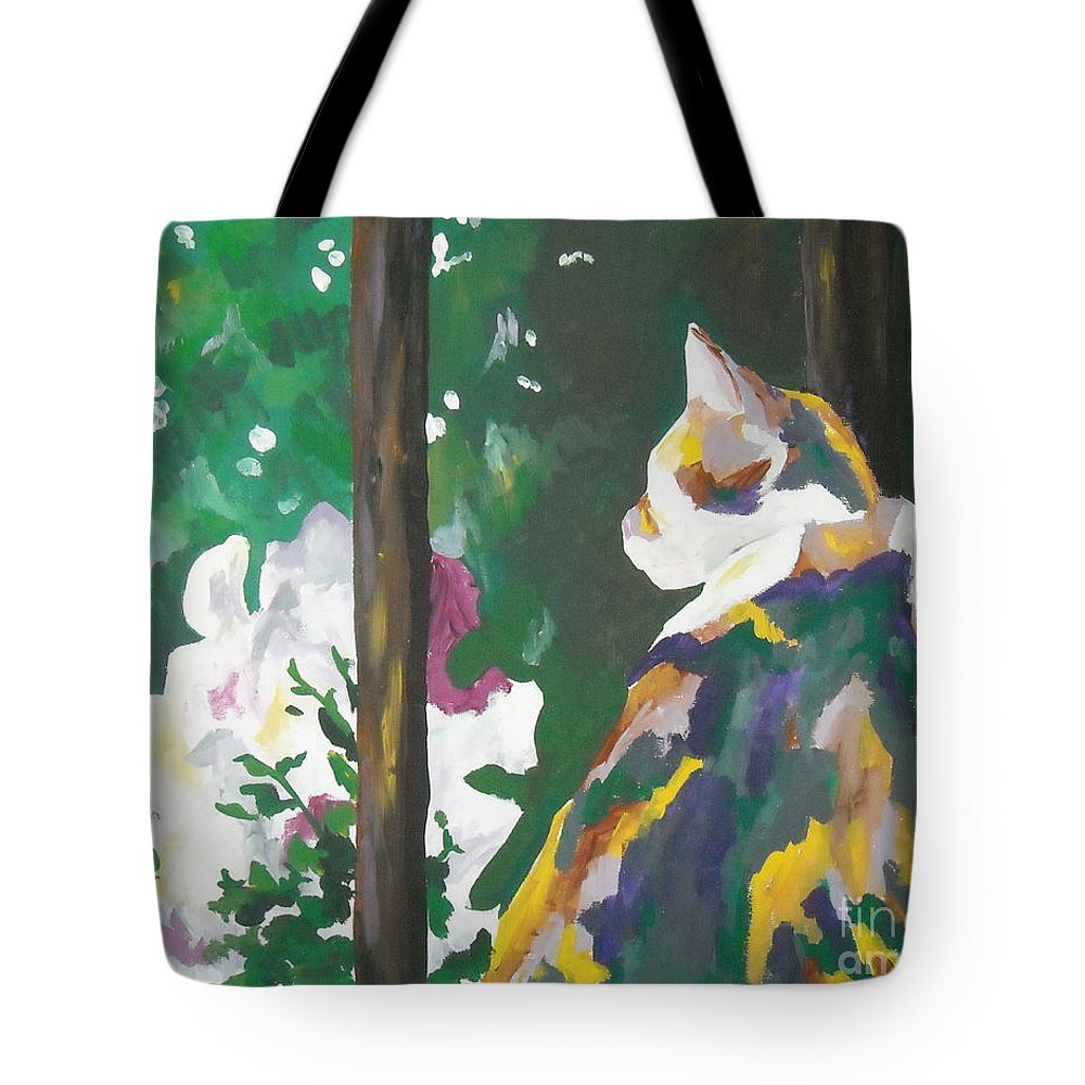 Petunia Tote Bag featuring the painting Petunia by Caroline Davis