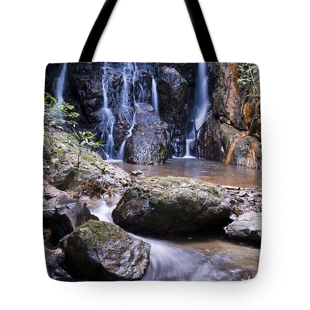 Bill Brennan Tote Bag featuring the photograph Pha Sua Waterfall by Bill Brennan - Printscapes