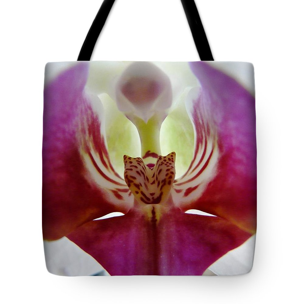 Flower Tote Bag featuring the photograph Phalaenopsis Orchid Detail by Valerie Ornstein