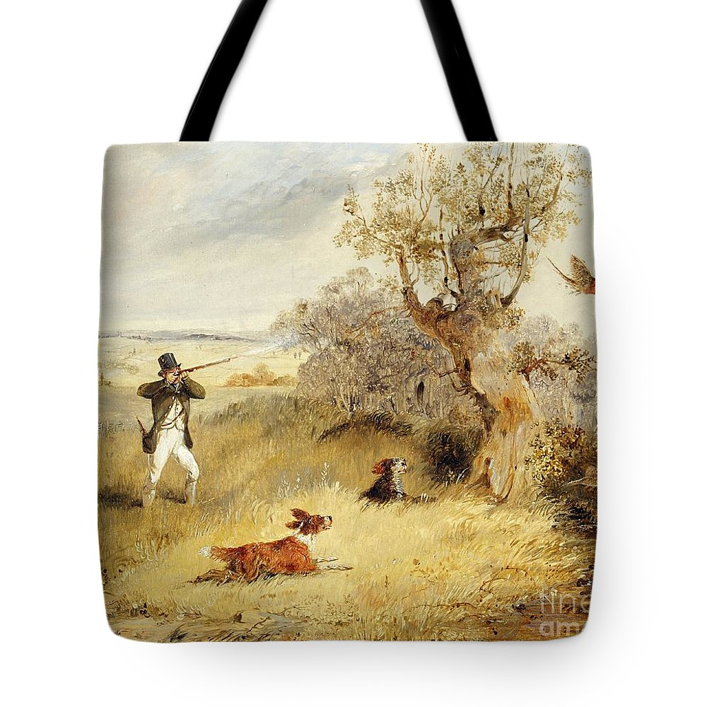 Pheasant Tote Bag featuring the painting Pheasant Shooting by Henry Thomas Alken