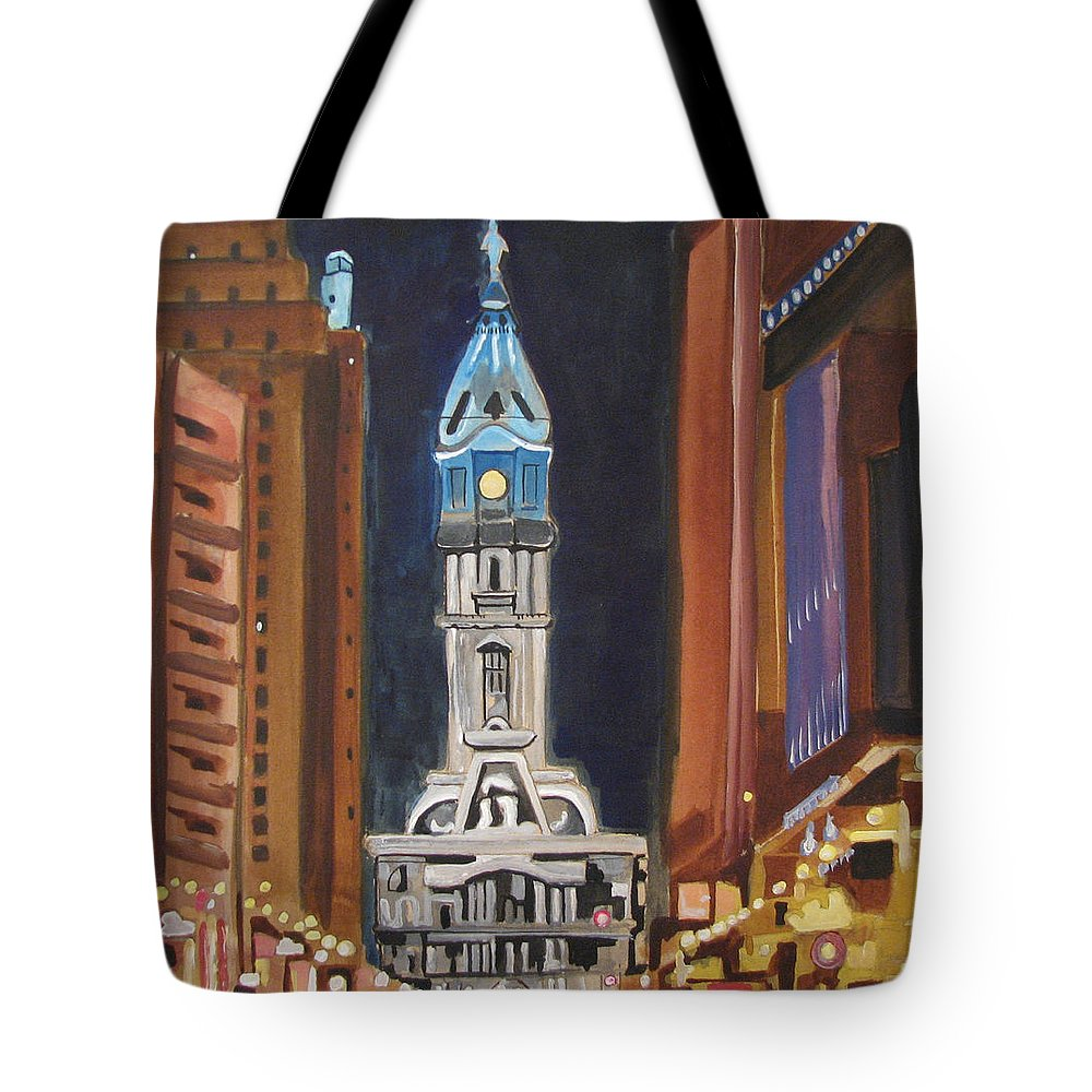 Landmarks Tote Bag featuring the painting Philadelphia City Hall by Patricia Arroyo