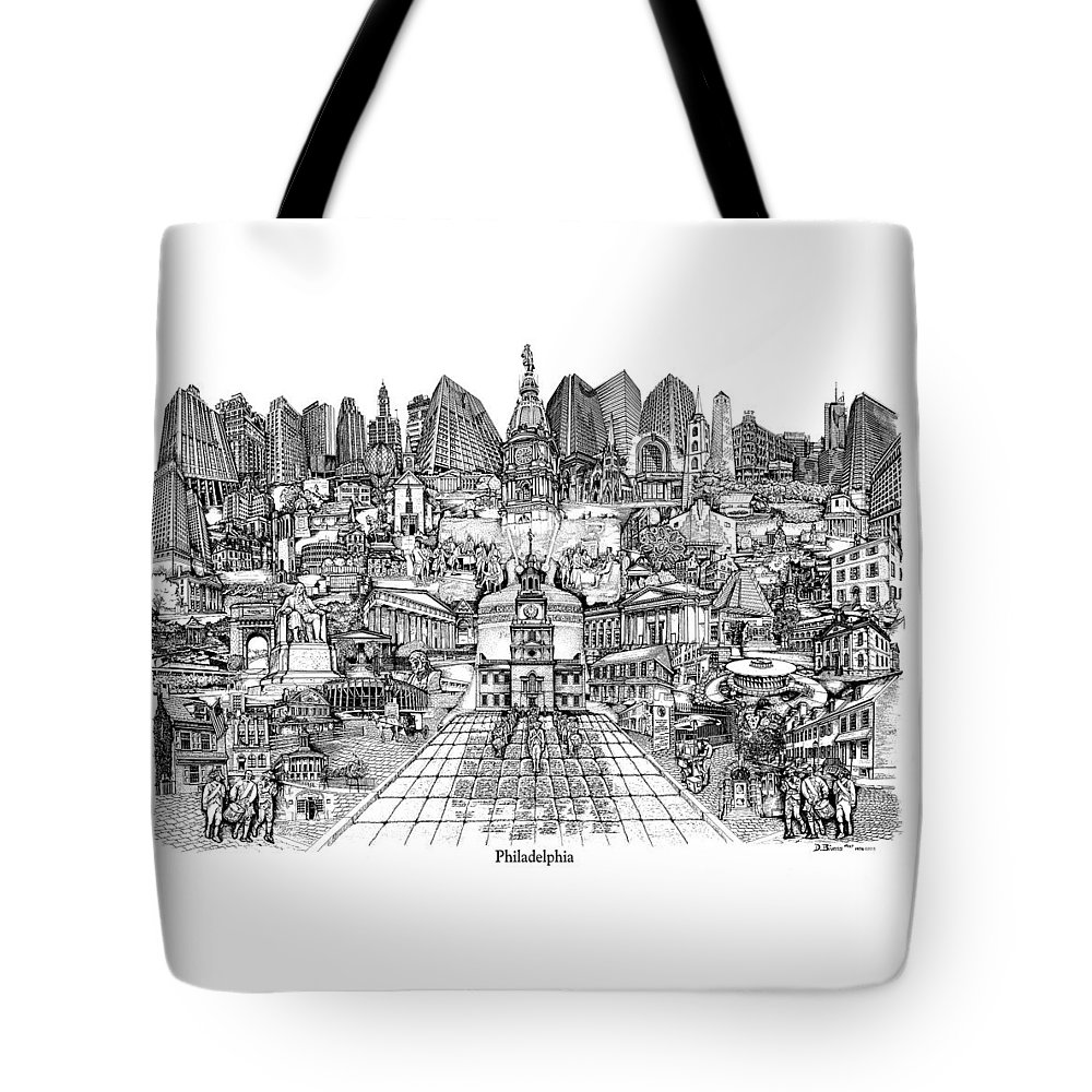 City Drawing Tote Bag featuring the drawing Philadelphia by Dennis Bivens