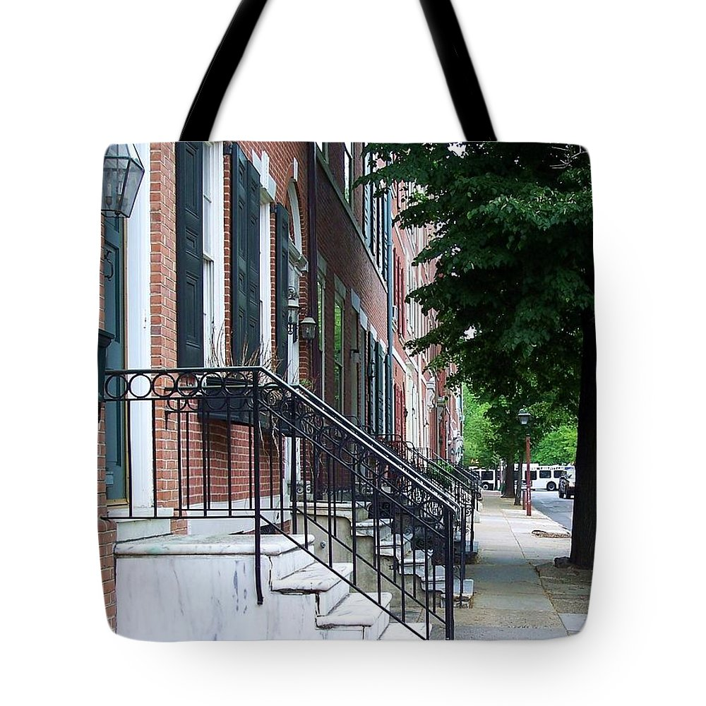 Architecture Tote Bag featuring the photograph Philadelphia Neighborhood by Debbi Granruth