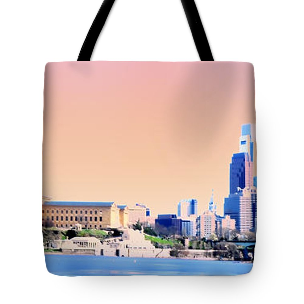 Philadelphia Tote Bag featuring the photograph Philadelphia Panoramic by Bill Cannon