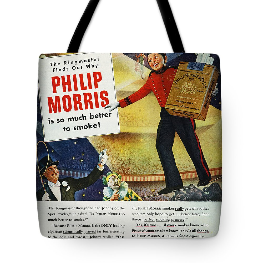 1947 Tote Bag featuring the photograph Philip Morris Cigarette Ad by Granger