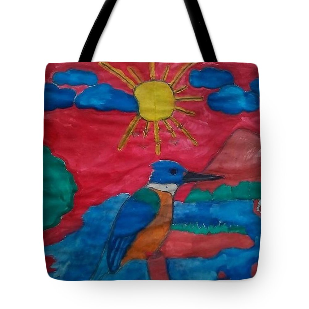 Tote Bag featuring the painting Philippine Kingfisher Painting Contest 4 by Carmela Maglasang