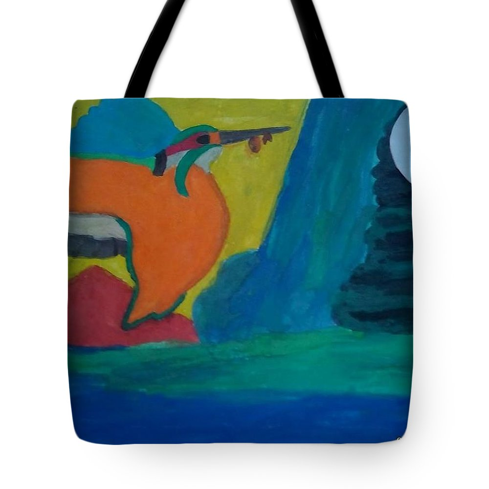 Tote Bag featuring the painting Philippine Kingfisher Painting Contest2 by Carmela Maglasang