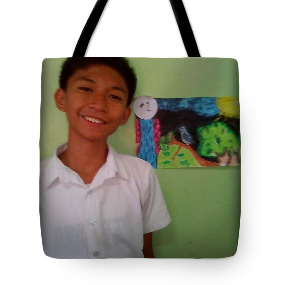Tote Bag featuring the painting Philippine Kingfisher Painting Contest3 by Carmela Maglasang