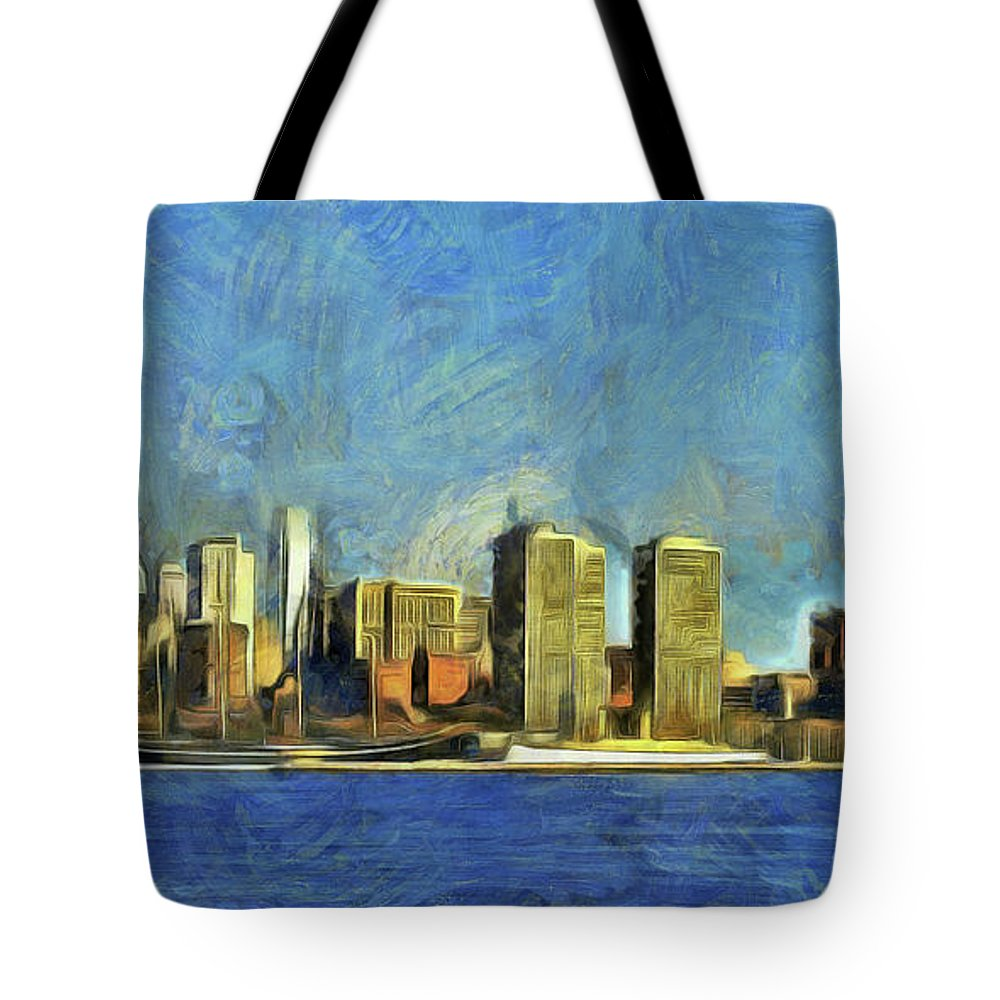 Philly Tote Bag featuring the mixed media Philly Skyline by Trish Tritz